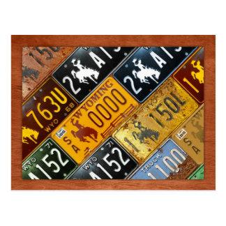 Mapa de la placa del estado de Wyoming por la carr Tarjetas Postales