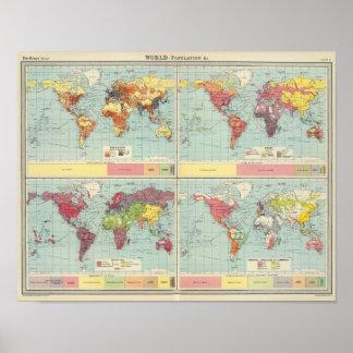 Mapa de la población de mundo poster