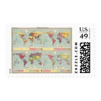 Mapa de la población de mundo sello