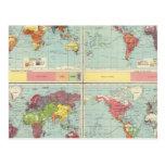Mapa de la población de mundo tarjeta postal