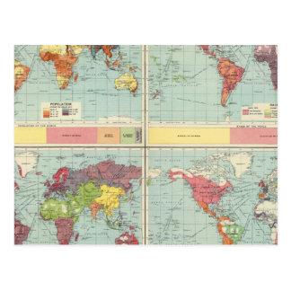 Mapa de la población de mundo postal