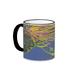 Mapa de la predicción de la trayectoria del globo  taza de café