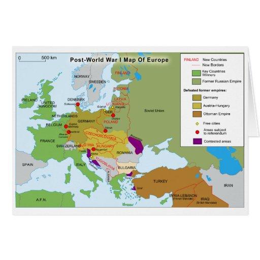 Mapa de la Primera Guerra Mundial del poste de Eur Tarjeta De Felicitación
