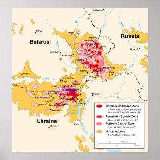Mapa de la radiación de Chernóbil del manual de la Póster