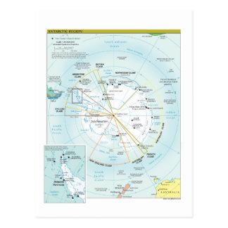 Mapa de la región antártica tarjeta postal