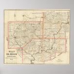 Mapa de la región del aceite de Pennsylvania Póster