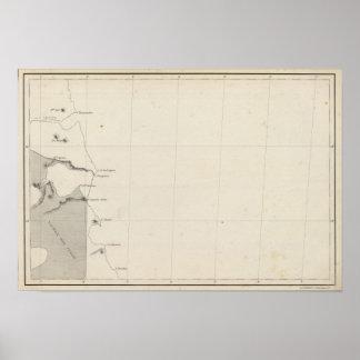 Mapa de la República de Chile 13 Póster