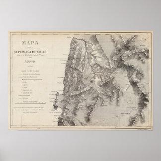 Mapa de la República de Chile 1 Póster