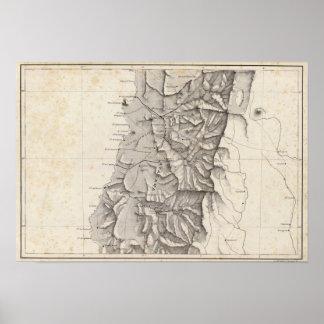 Mapa de la República de Chile 3 Póster