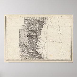 Mapa de la República de Chile 4 Póster