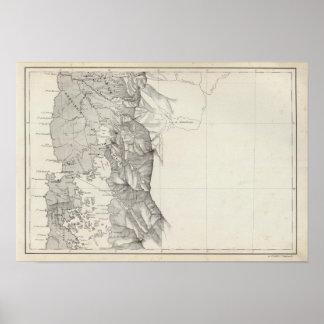 Mapa de la República de Chile 8 Póster