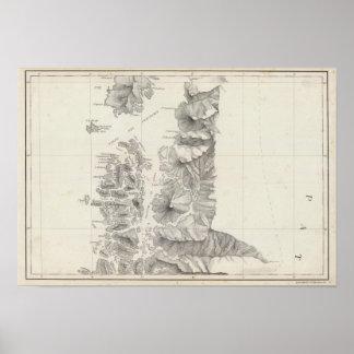 Mapa de la República de Chile 9 Póster