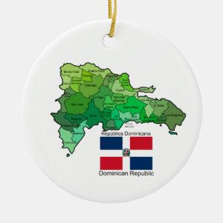 Mapa de la República Dominicana Adorno Redondo De Cerámica