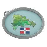 Mapa de la República Dominicana Hebilla De Cinturón Oval