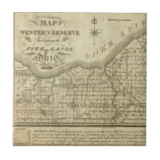 Mapa de la reserva occidental azulejo cuadrado pequeño