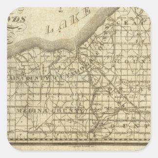 Mapa de la reserva occidental pegatina cuadrada