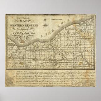 Mapa de la reserva occidental póster
