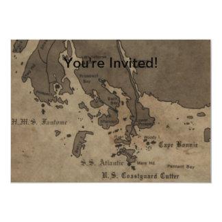 """Mapa de la ruina de la nave de la antigüedad del invitación 5"""" x 7"""""""
