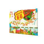 Mapa de la ruta 66 de Los Ángeles a Chicago Lona Envuelta Para Galerias
