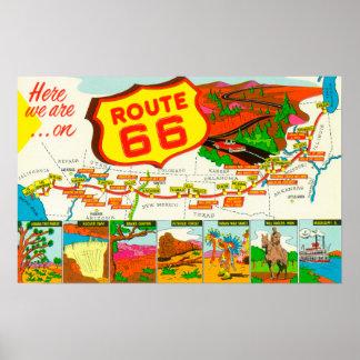 Mapa de la ruta 66 de Los Ángeles a Chicago Póster