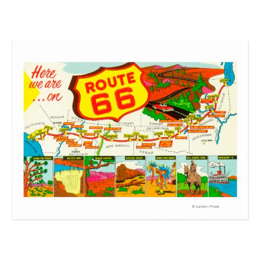Mapa de la ruta 66 de Los Ángeles a Chicago Postal