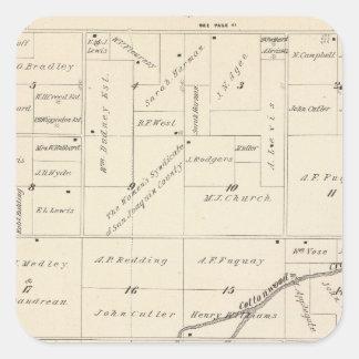 Mapa de la sección de T17S R24E el condado de Pegatina Cuadrada