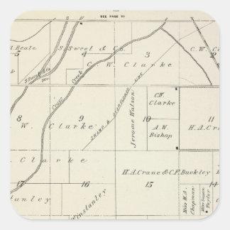 Mapa de la sección de T18S R23E el condado de Calcomanía Cuadradas Personalizadas