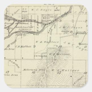 Mapa de la sección de T18S R27E el condado de Tula Calcomanía Cuadradas Personalizadas