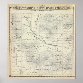 Mapa de la sección de T19S R27E el condado de Tula Poster