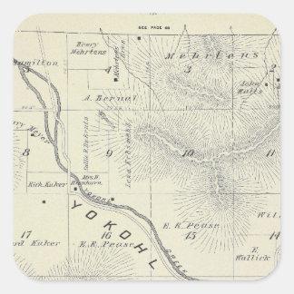 Mapa de la sección de T19S R27E el condado de Tula Calcomanía Cuadrada Personalizada