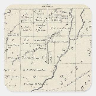 Mapa de la sección de T20S R22E el condado de Pegatina Cuadrada