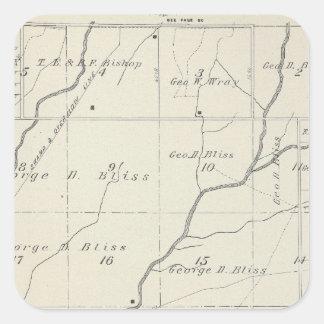 Mapa de la sección de T20S R25E el condado de Tula Pegatinas Cuadradases Personalizadas