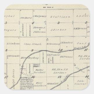 Mapa de la sección de T22S R25E el condado de Pegatina Cuadrada