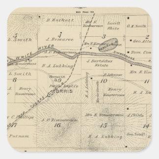 Mapa de la sección de T24S R27E el condado de Pegatina Cuadrada