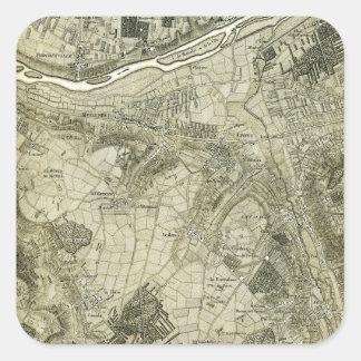 Mapa de la sepia del vintage de París Francia Pegatina Cuadradas