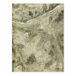 Mapa de la sepia del vintage de París, Francia Tarjetas Postales