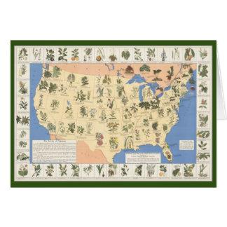 Mapa de la tarjeta de felicitación herbaria de los