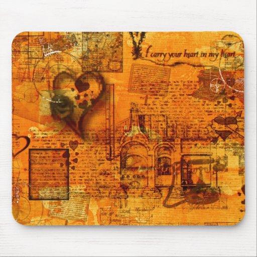 Mapa de la tarjeta del día de San Valentín del cor Alfombrillas De Raton