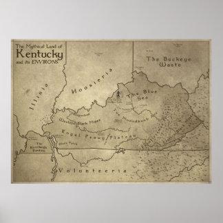 Mapa de la tierra mítica de Kentucky Póster