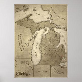 Mapa de la tierra mitológica de Michigan Posters