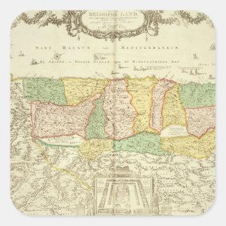 Mapa de la Tierra Santa, pub. en enero Barend Pegatina Cuadrada