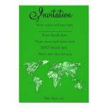 Mapa de la tierra verde invitación 12,7 x 17,8 cm