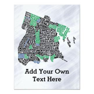 """Mapa de la tipografía de Bronx New York City Invitación 4.25"""" X 5.5"""""""