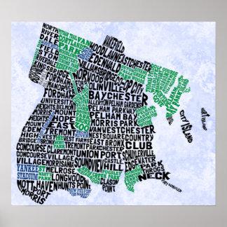Mapa de la tipografía de Bronx New York City Póster