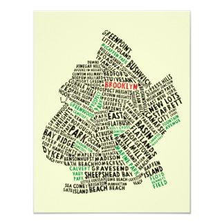 """Mapa de la tipografía de Brooklyn NYC Invitación 4.25"""" X 5.5"""""""