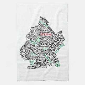 Mapa de la tipografía de Brooklyn NYC Toallas De Mano