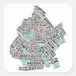 Mapa de la tipografía de Brooklyn NYC Pegatina Cuadrada