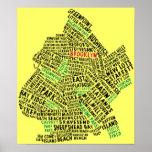Mapa de la tipografía de Brooklyn NYC Póster