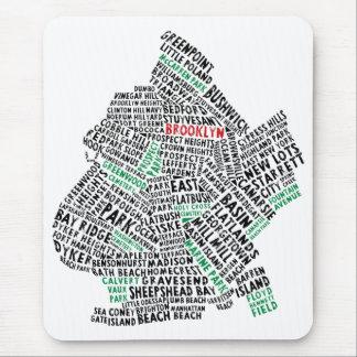Mapa de la tipografía de Brooklyn NYC Tapete De Ratones