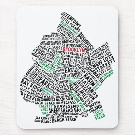 Mapa de la tipografía de Brooklyn NYC Tapetes De Raton
